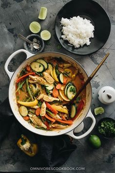 Easy Vegetarian Thai Curry | This rich and scrumptious vegetarian Thai curry is super fast and easy to cook. It's the perfect recipe for using up leftover veggies from your fridge. {Vegan, Gluten-Free}