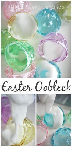 Easter Oobleck Science 2 Ingredient Sensory Play