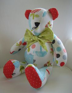 My husband's family makes these bears when there is a death in the family. They use fabric from the deceased person's shirts and use buttons from their shirt for the eyes.