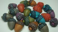 Ponsawan Sila - How to make acorns #Polymer #Clay #Tutorials
