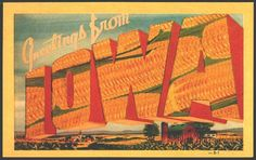 Iowa 1940s Large Letter Greetings
