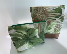Cosmetic Bags Set of 2 Forest Green Pattern Cotton Zipper Pouches Bridal Accessories, Wedding Jewelry, Cosmetic Bag Set, Green Pattern, Zipper Pouch, Beautiful Necklaces, Pouches, Bridesmaid Gifts, Cotton Canvas
