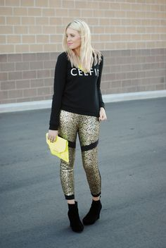 CELFIBlack Celfie Sweater & sequin pants with neon accent pieces. Fun fall outfit or outfit for the holidays.  Outfit from www.theredclosetdiary.com