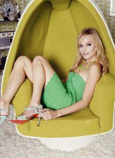 Swivel chair – Kate Bosworth, photographer Sebastian copeland, louboutin kitten heels, green dress