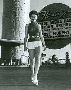 Debra Paget outside The Flamingo Hotel & Casino, Las Vegas, 1950s