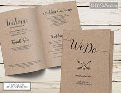 Kraft Wedding Program Fan, Wedding Program Template, Printable ...