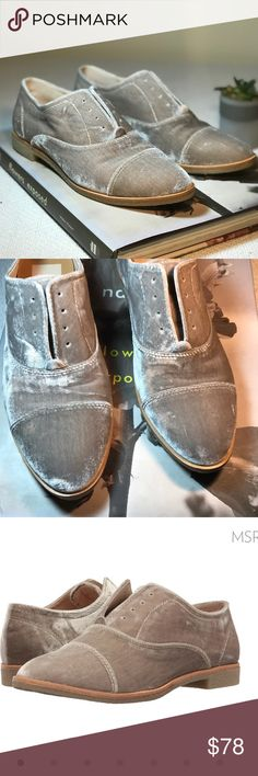 • DOLCE VITA • crushed velvet oxfords Dolce Vita crushed velvet oxfords.  Women's size 8. No lace, light grey color. Only tried on. Never worn out. Open to reasonable offers!  Bundle & save 10%!  Dolce Vita Shoes Flats & Loafers