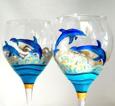 hand painted wine glasses ocean inspired