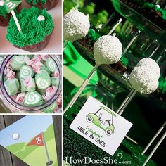 golf party... white golf ball cake pops on tees!