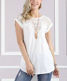 Another great find on #zulily! White Lace-Contrast Hi-Low Top - Plus Too #zulilyfinds