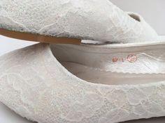 22d3adf1341a White Iridescent Glitter Lace Flats Bridal Pumps Ballerina Flats Customised  Shoes Bridal Wedding Bridesmaid UK Size 3 4 5 6 7 8