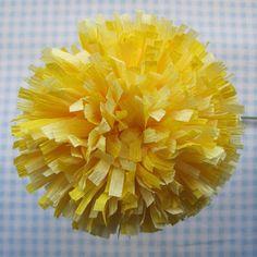 fleur en papier crepon jaune jolie