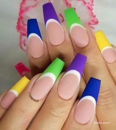 French Tip, cute summer nails Long Nail Designs, Cute Nail Art Designs, Nail Designs Spring, Beautiful Nail Designs, Beautiful Nail Art, Bright Nail Art, Bright Summer Nails, Cute Summer Nails, Gradient Nail Design