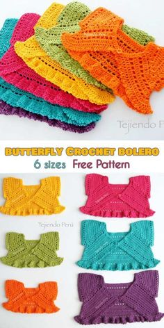 Butterfly Crochet Bolero for Babies and Kids [Free Pattern] # free crochet patterns for baby dresses Butterfly Crochet Bolero for Babies and Kids [Free Pattern] Crochet Bolero Pattern, Crochet Edging Patterns, Baby Patterns, Knitting Patterns, Sewing Patterns, Pattern Dress, Knitting Ideas, Dress Patterns, Crochet Baby Dress Free Pattern