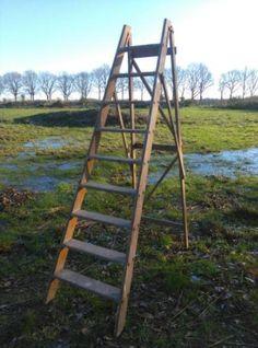 Oude Brocante Houten Trap Ladder Plukladder