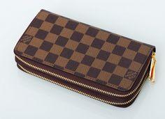 Двойной кошелек Louis Vuitton из фирменного метериала LV в коричневую клетку, внутри натуральная кожа. Размер 19,5х11х4см #19173