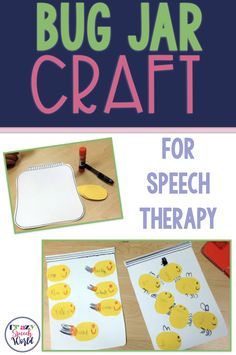 Bug jar craft for speech therapy! Use this easy to prep craft for articulation or language therapy sessions. Articulation Therapy, Articulation Activities, Speech Activities, Craft Activities, Speech Language Pathology, Speech And Language, Language Development, Special Education Teacher, Jar Crafts