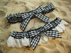 Black White Eyelet Lace Gingham Heart Wedding Garter by jbconaway, $14.99