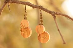 Timeless Earrings - Olive Wood and Brass - $17.00 - #handmade, #fairtrade, #fashion