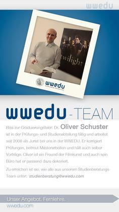 WWEDU-Team: Biss zur Graduierungsfeier: Dr. Oliver Schuster  ist in der Prüfungs- und Studienabteilung tätig und arbeitet  seit 2008 als Jurist bei uns in der WWEDU. Er korrigiert  Prüfungen, betreut Masterarbeiten und hält auch selber  Vorträge. Oliver ist ein Freund der Filmkunst und auch sein  Büro hat er passend dazu dekoriert. Zu erreichen ist sie, wie alle aus unserem Studienberatungs-Team unter:  studienservice(at)wwedu(dot)com Dream Team, Polaroid Film, Schuster, Not Interested, Students, Things To Do, Learning