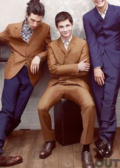 The Golden Boys  Ezra Miller, Logan Lerman and Johnny Simmons   Printed button-down shirts, suits, and shoes by Prada