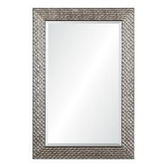 allen + roth 24-in x 36-in Silver Beveled Rectangle Framed Contemporary Wall Mirror Haley