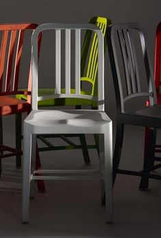 The new 111 Navy chair, made of 111 recycled plastic bottles.