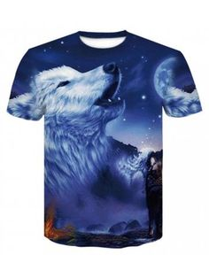 03bbe0bc1e4eb Blue 3D Print Mens Casual Short Sleeve Graphic Tee T-Shirt Wolf T Shirt