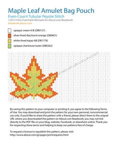 A free pattern chart for an amulet bag pouch that features a colorful fall maple leaf on the front side. This pattern uses even-count tubular peyote stitch and Delica beads.