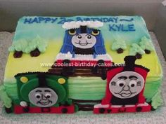 Homemade Thomas the Tank Engine and Friends Cake: I was asked to make my friend's son's birthday cake for the second year, and he is only 2! Hopefully this is a pattern! I was asked to do a Thomas the
