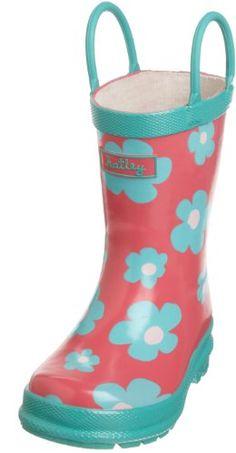Hatley Girls 2-6X Children's Blue Flowers Rubber Boot, Rose Ribbon, 8