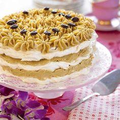 Recipie in Swedish. Baking Recipes, Dessert Recipes, Desserts, Swedish Recipes, Mocca, Cake Designs, Vanilla Cake, Tiramisu, Cake Decorating