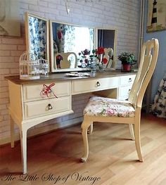 Stag Dressing Table Desk Triple Mirror 5 Drawers & Chair Annie Sloan Shabby Chic