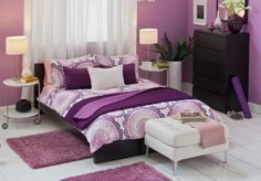 Agreeable Ikea Small Bedroom Ideas: Remarkable And Cool Pink Purple Bed Set Ikea Furniture For Your Bedroom Interior Design Ideas ~ ericpoll.com Bedroom Inspiration