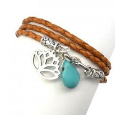 Leather Wrap Bracelet with Lotus and Turquoise