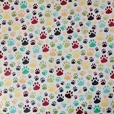 Multi Coloured Paw Prints 12x12 Scrapbooking Paper