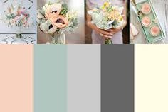 The peach, sage and champagne are the bridesmaid dress colors. The dark gray is groomsmen suits.