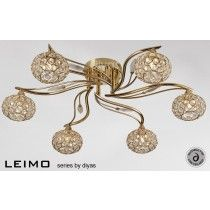 Diyas Lighting IL30966 - Leimo Ceiling 6 Light French Gold/Crystal