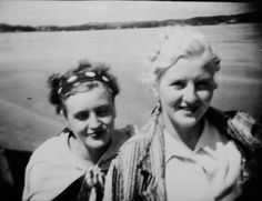 Gretl (left) and Eva Braun. These images were included in pages of Eva's photo albums and cataloged as such when I viewed and photographed them in the National Archives.