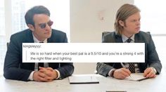 daredevil + text post meme: foggy & matt - Life throws you curves. Being…
