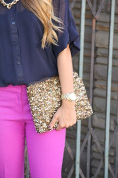 Magenta Pink Purple -y Skinny Jeans. Navy Sheer Blouse. Gold Sparkle Pearl Studded Hand Bag. Gold Necklace. Gold Watch.