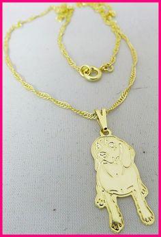 Colar Pingente Raça Beagle  Colar folheado a ouro  Corrente singapura 45 cm