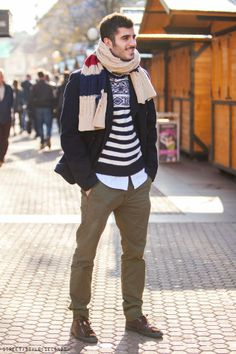 Elegant street fashion look with Christmas jumper for men