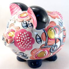Ceramic Piggy Bank. Hand Painted. Original design. Navy with shades of pink and…