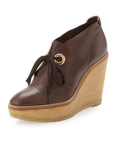 Platform+Wedge+Ankle+Boots,+Brown+by+Andrew+Stevens+at+Neiman+Marcus+Last+Call.