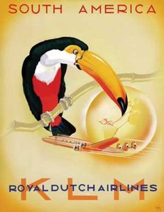 South America - Royal Dutch Airlines poster