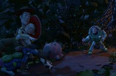 This scene is so sweet and funny. Buzz thinks he's got competition, unaware that Woody is only Jessie's brother.