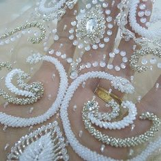 Saturdays dose of white and silver #bridal #bling | #tambour #beading…