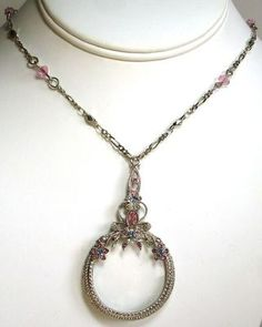 1928 Magnifier Magnifying Glass Necklace Silver Pewter Tone Pink Blue Beads SOLD