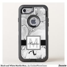 Black and white marble otterbox case that can be personalized with your name and monogram. Design by Caroline Leskiw Size: Apple iPhone Gender: unisex. Iphone 7, Iphone Cases Disney, Funny Iphone Cases, Iphone Wallet Case, Cool Phone Cases, Iphone Case Covers, Marble Iphone Case, Marble Case, Iphone Price